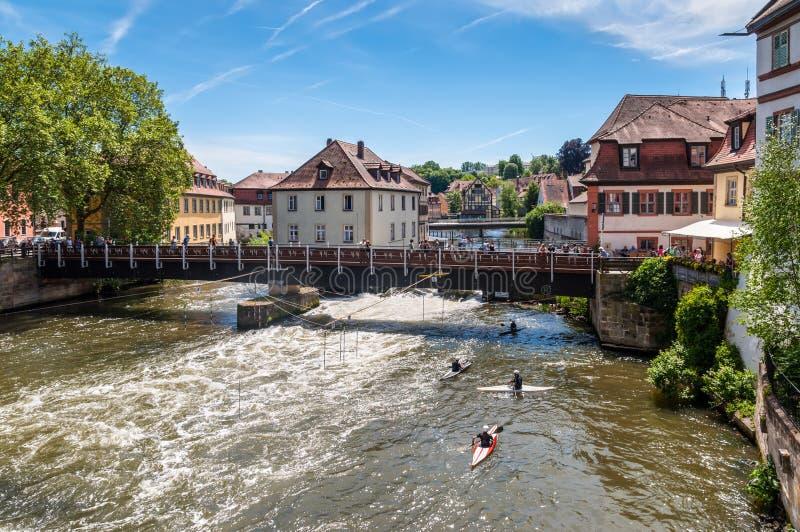 Ποταμός Regnitz, Βαμβέργη, Βαυαρία, Γερμανία στοκ εικόνες