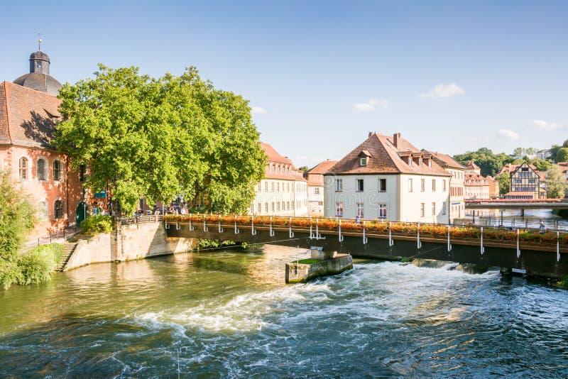 Ποταμός Regnitz στη Βαμβέργη στοκ εικόνα με δικαίωμα ελεύθερης χρήσης