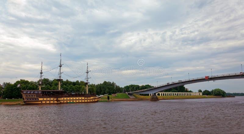 Ποταμός Volkhov σε Veliky Novgorod, Ρωσία r στοκ εικόνα