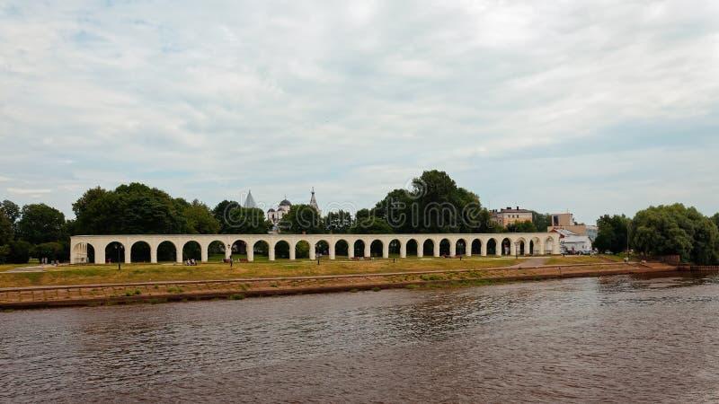 Ποταμός Volkhov σε Veliky Novgorod, Ρωσία r στοκ εικόνα με δικαίωμα ελεύθερης χρήσης