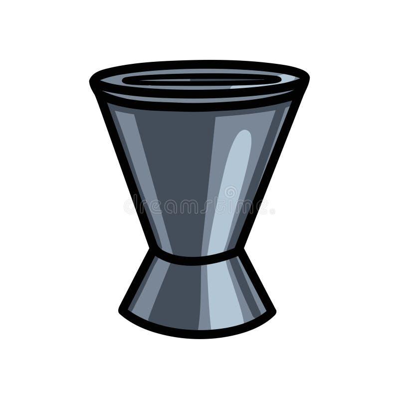 Ποτηράκι μπάρμαν, λίγη μετρώντας συσκευή κοκτέιλ στο φραγμό διανυσματική απεικόνιση