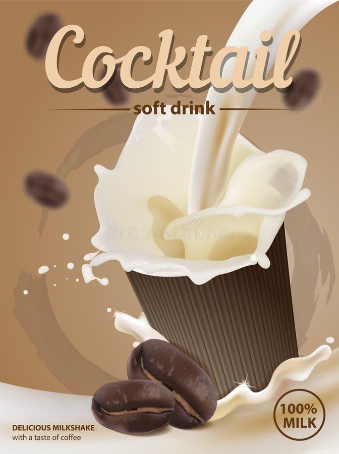 Ποτό γάλακτος με ένα γούστο του καφέ Ψεκασμός γάλακτος σε ένα γυαλί απομονωμένη ιδανικό μακροεντολή καφέ προγευμάτων φασολιών πέρ απεικόνιση αποθεμάτων