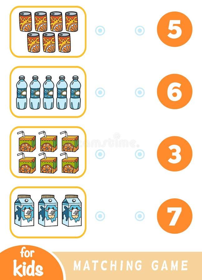 Ταιριάζοντας με παιχνίδι εκπαίδευσης Μετρήστε πόσα στοιχεία και επιλέξτε το σωστό αριθμό Σύνολο ποτών ελεύθερη απεικόνιση δικαιώματος
