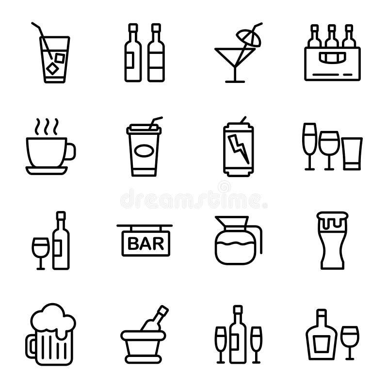 Ποτό και εικονίδιο ποτών διανυσματική απεικόνιση