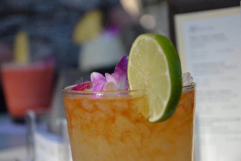 Ποτό κοκτέιλ ηλιοβασιλέματος στη Χονολουλού στοκ εικόνα