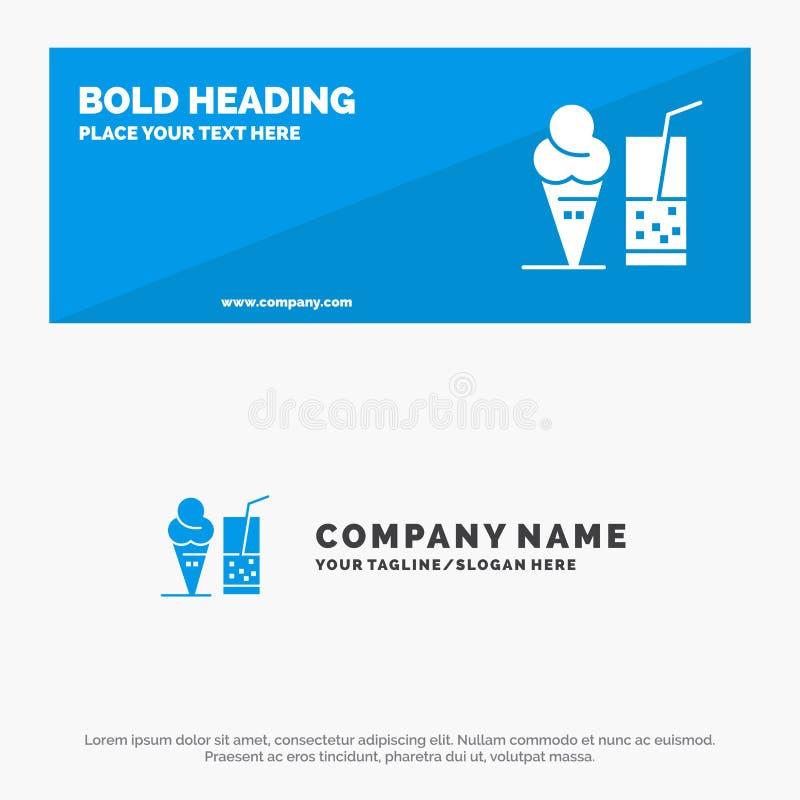 Ποτό, παγωτό, καλοκαίρι, στερεά έμβλημα ιστοχώρου εικονιδίων χυμού και πρότυπο επιχειρησιακών λογότυπων ελεύθερη απεικόνιση δικαιώματος