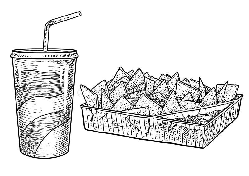 Ποτό, nachos, τσιπ, απεικόνιση, σχέδιο, χάραξη, μελάνι, τέχνη γραμμών, διάνυσμα διανυσματική απεικόνιση