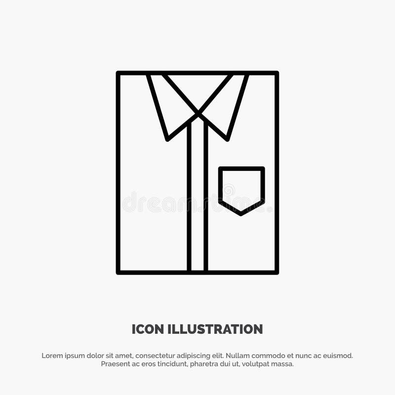 Πουκάμισο, ύφασμα, ιματισμός, φόρεμα, μόδα, επίσημος, διάνυσμα εικονιδίων γραμμών ένδυσης διανυσματική απεικόνιση