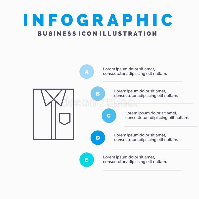 Πουκάμισο, ύφασμα, ιματισμός, φόρεμα, μόδα, επίσημος, εικονίδιο γραμμών ένδυσης με το υπόβαθρο infographics παρουσίασης 5 βημάτων ελεύθερη απεικόνιση δικαιώματος