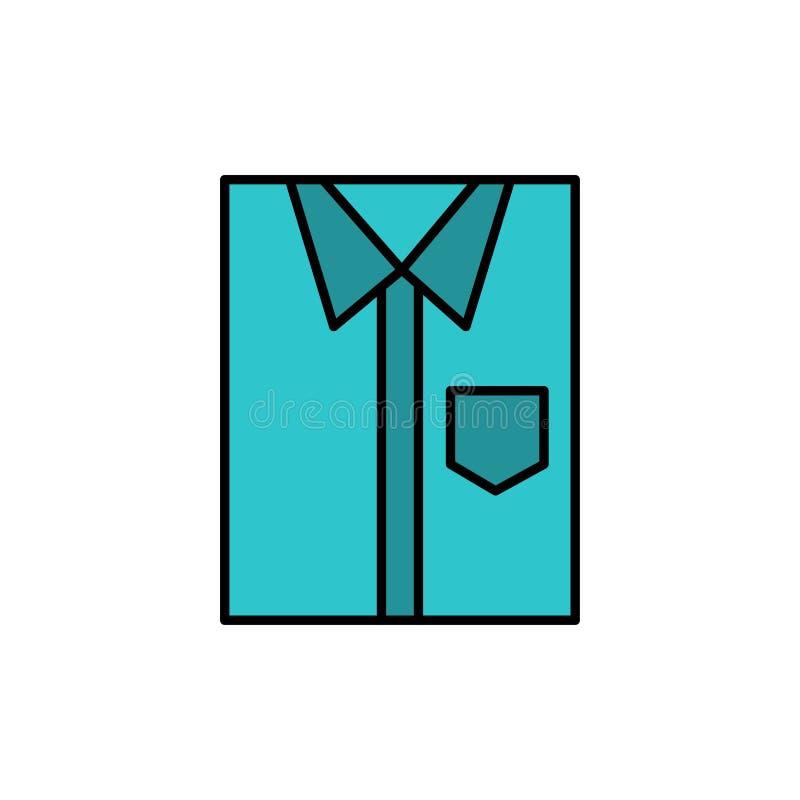 Πουκάμισο, ύφασμα, ιματισμός, φόρεμα, μόδα, επίσημος, επίπεδο εικονίδιο χρώματος ένδυσης Διανυσματικό πρότυπο εμβλημάτων εικονιδί ελεύθερη απεικόνιση δικαιώματος