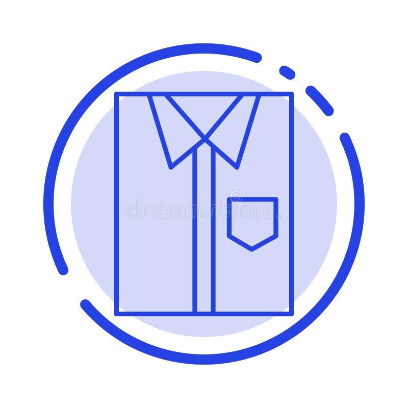 Πουκάμισο, ύφασμα, ιματισμός, φόρεμα, μόδα, επίσημος, μπλε εικονίδιο γραμμών διαστιγμένων γραμμών ένδυσης διανυσματική απεικόνιση