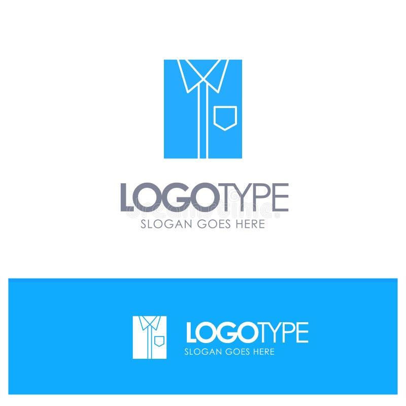 Πουκάμισο, ύφασμα, ιματισμός, φόρεμα, μόδα, επίσημος, μπλε στερεό λογότυπο ένδυσης με τη θέση για το tagline ελεύθερη απεικόνιση δικαιώματος