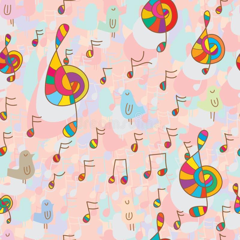 Πουλί και άνευ ραφής σχέδιο μουσικής διανυσματική απεικόνιση