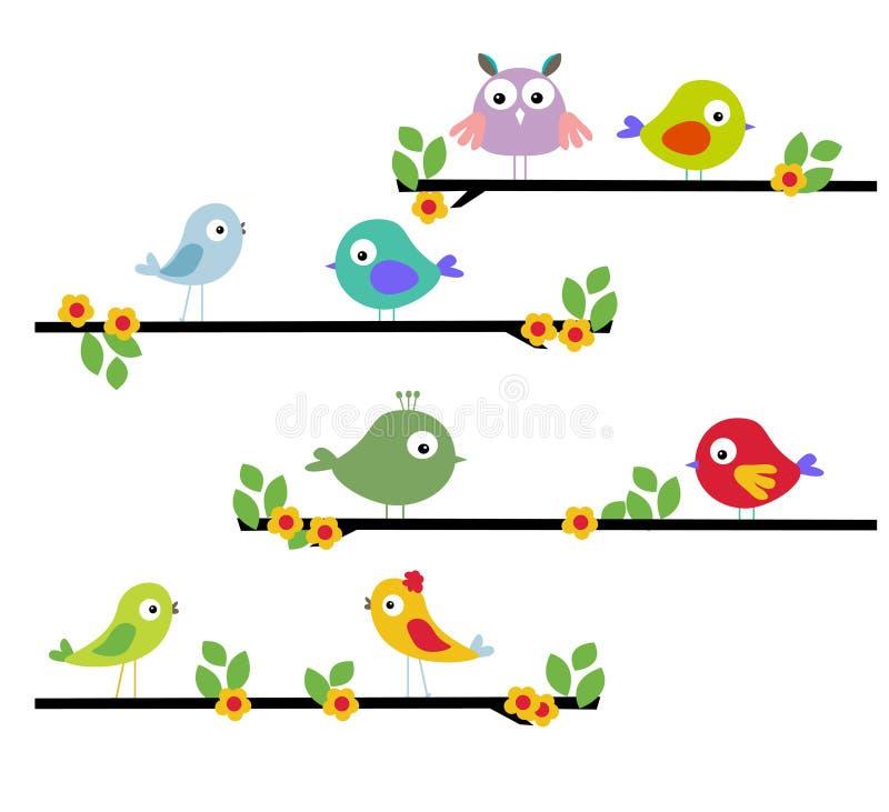 Πουλί κινούμενων σχεδίων σε ένα δέντρο διανυσματική απεικόνιση