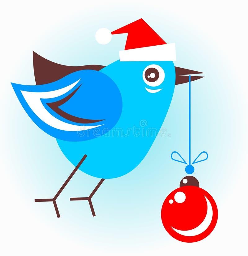 Πουλί με τη σφαίρα Χριστουγέννων διανυσματική απεικόνιση