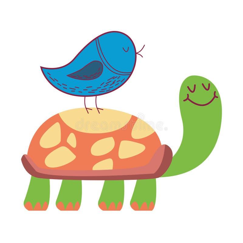 Πουλί στη χελώνα απεικόνιση αποθεμάτων