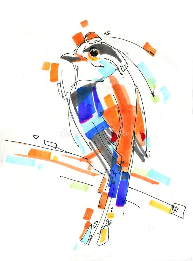 Πουλί τυποποιημένο, τσίχλα διανυσματική απεικόνιση