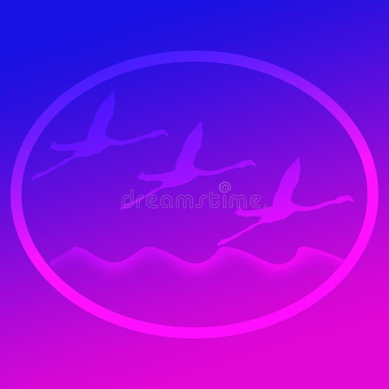 Πουλί φλαμίγκο που πετά πέρα από μια εικόνα υποβάθρου λογότυπων απεικόνισης λιμνών διανυσματική απεικόνιση