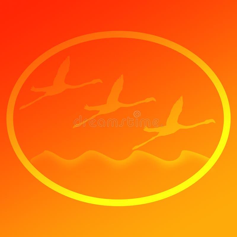 Πουλί φλαμίγκο που πετά πέρα από μια εικόνα υποβάθρου λογότυπων απεικόνισης λιμνών ελεύθερη απεικόνιση δικαιώματος