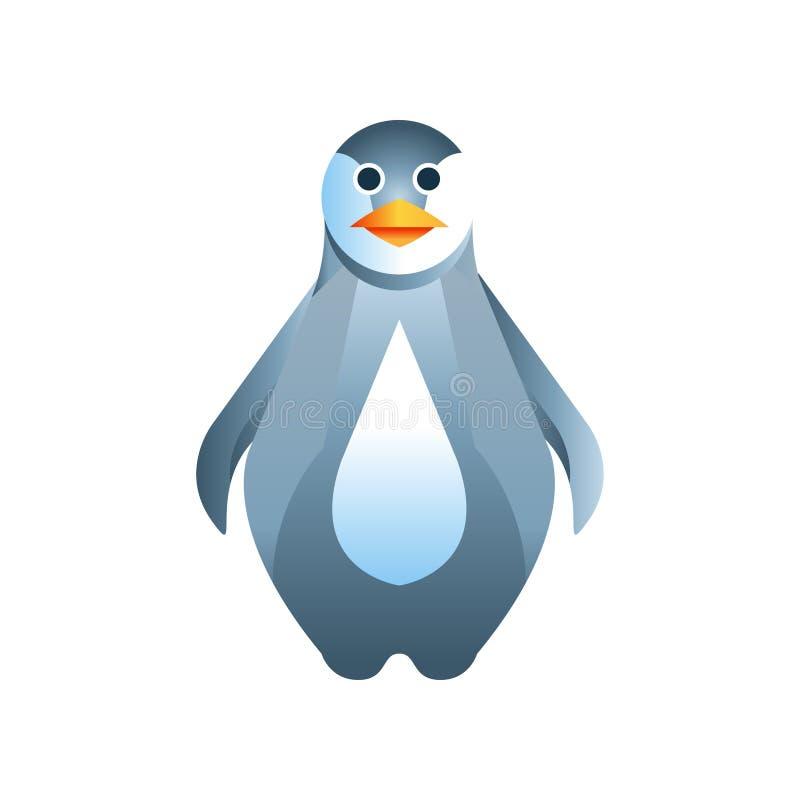 Πουλί Penguin, τυποποιημένη γεωμετρική ζωική χαμηλή πολυ διανυσματική απεικόνιση σχεδίου διανυσματική απεικόνιση