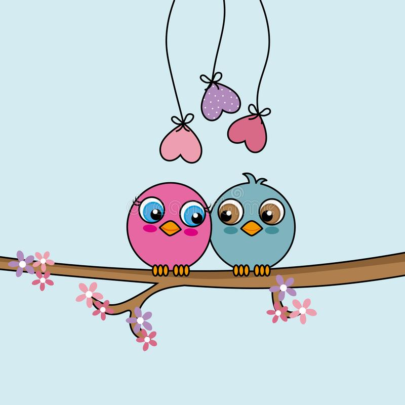 Πουλιά αγάπης πάνω από έναν κλάδο ελεύθερη απεικόνιση δικαιώματος