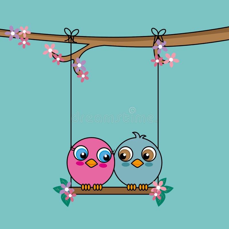 Πουλιά ερωτευμένα πάνω από μια ταλάντευση απεικόνιση αποθεμάτων