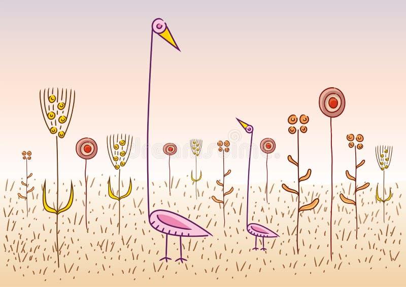 πουλιά περίεργα διανυσματική απεικόνιση