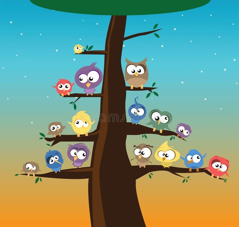 Πουλιά σε ένα δέντρο διανυσματική απεικόνιση