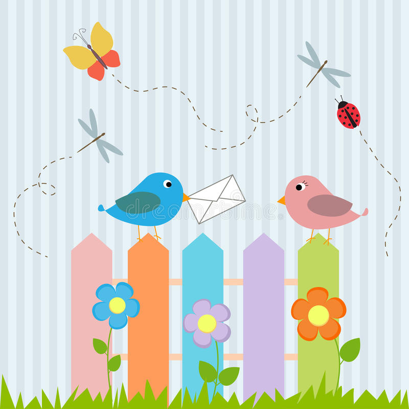 Πουλιά στη φραγή με την επιστολή διανυσματική απεικόνιση