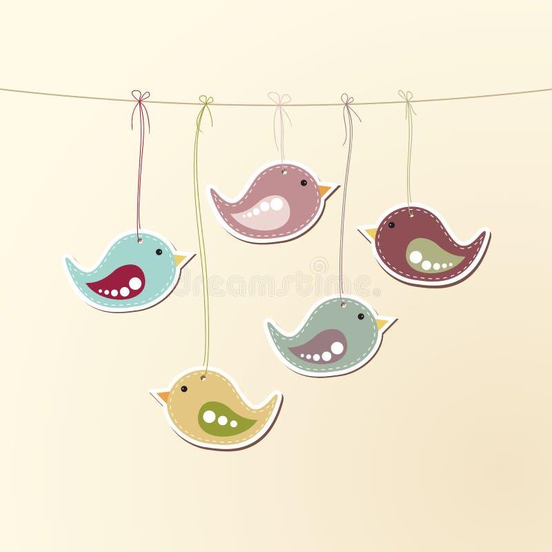 Πουλιά στις συμβολοσειρές διανυσματική απεικόνιση