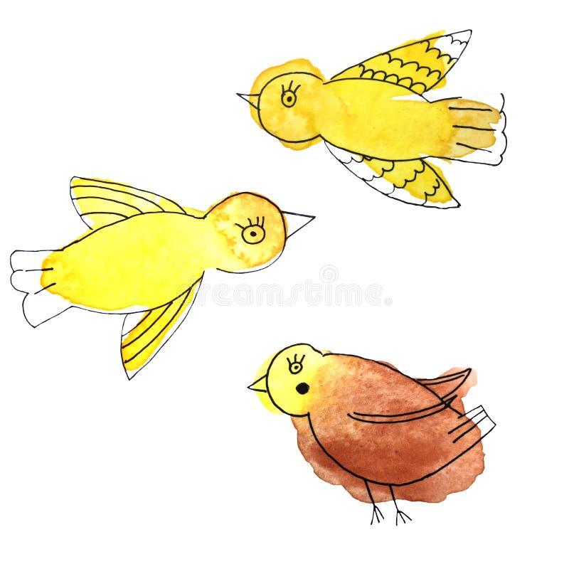 Πουλιά watercolor και μελανιού πνιξίματος χεριών ελεύθερη απεικόνιση δικαιώματος