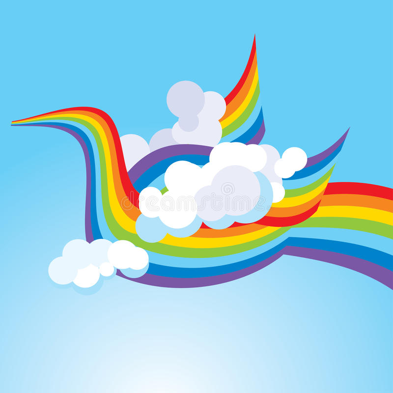 Πουλί από ένα ουράνιο τόξο στον ουρανό διανυσματική απεικόνιση