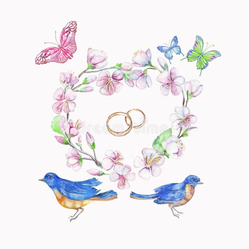 Πουλί, δαχτυλίδια, κεράσι, μήλο, λουλούδια, πεταλούδα Απομονωμένο Watercolor αντικείμενο ελεύθερη απεικόνιση δικαιώματος