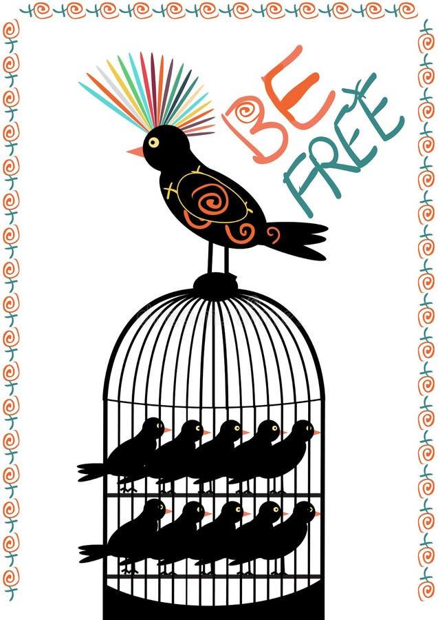 Πουλί και κλουβί - να είστε ελεύθερος - διάνυσμα διανυσματική απεικόνιση