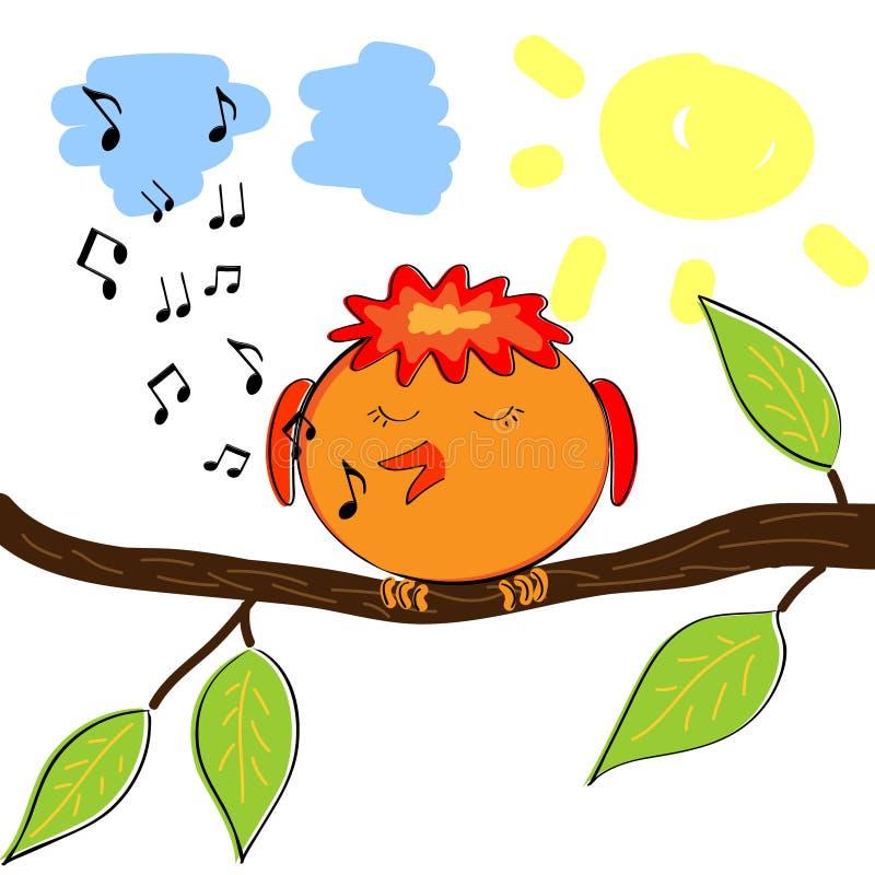 Πουλί κινούμενων σχεδίων στον κλάδο που τραγουδά έναν τόνο διανυσματική απεικόνιση