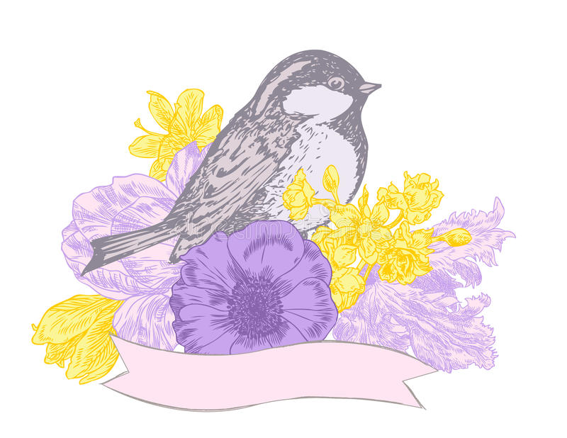 Πουλί, λουλούδια και έμβλημα διανυσματική απεικόνιση