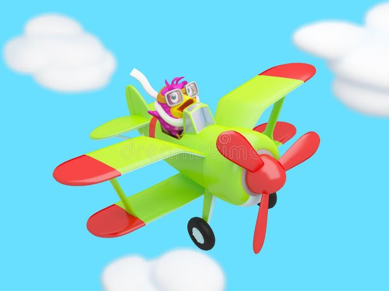Πουλί που πετά στα σύννεφα σε ένα αεροπλάνο απεικόνιση αποθεμάτων