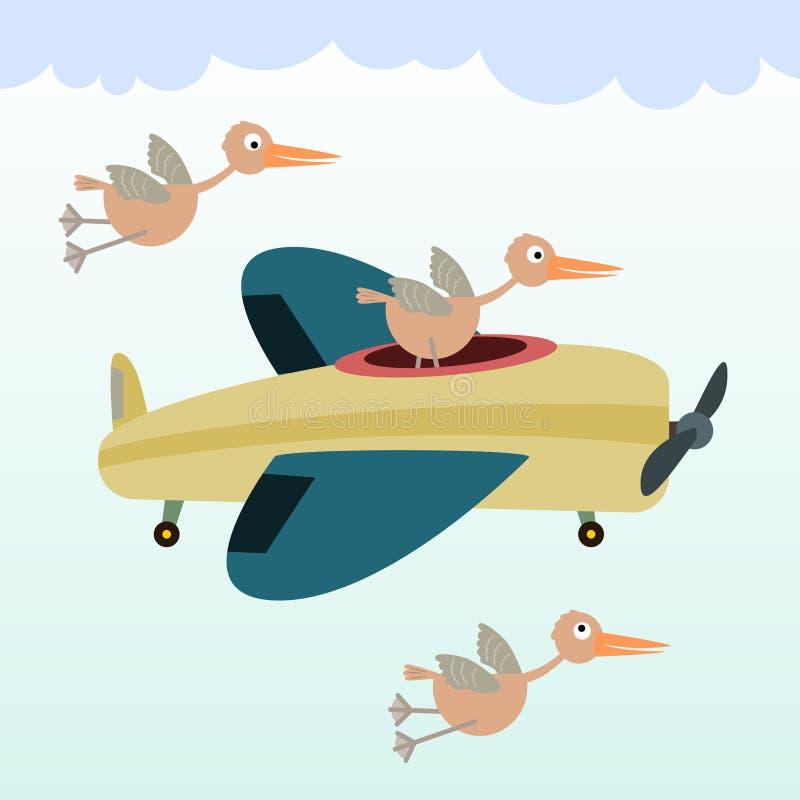 Πουλί σε ένα αεροπλάνο ελεύθερη απεικόνιση δικαιώματος