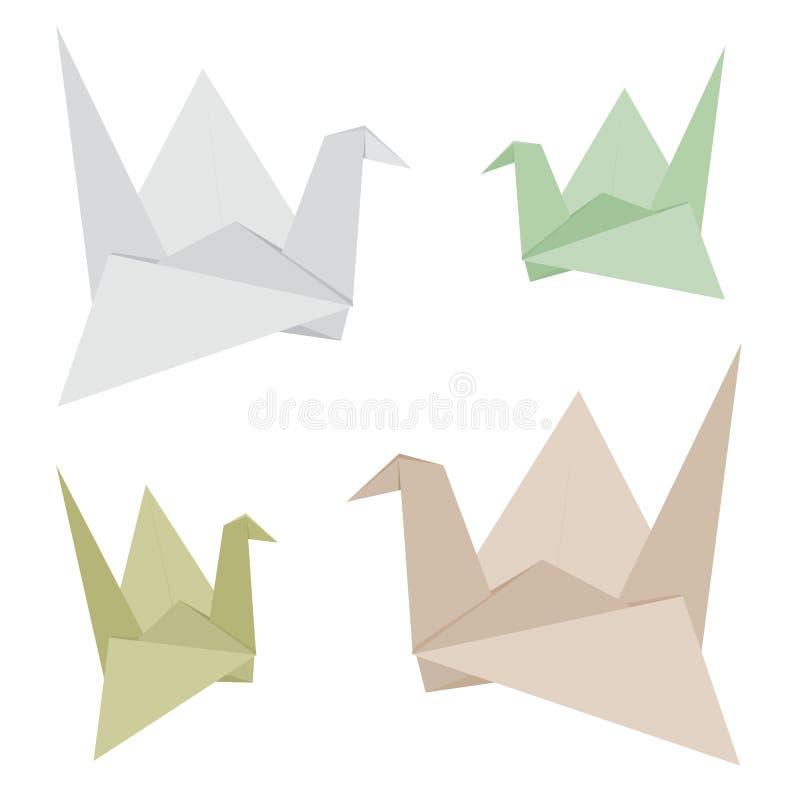 Πουλί Origami που γίνεται από το ανακύκλωσης διανυσματικό σχέδιο εγγράφου διανυσματική απεικόνιση