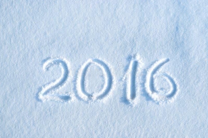 2016 που γράφεται στο χιόνι στοκ εικόνα