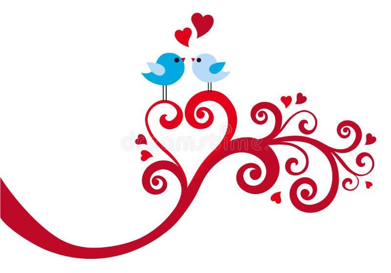 Πουλιά αγάπης με το στρόβιλο καρδιών, διάνυσμα διανυσματική απεικόνιση