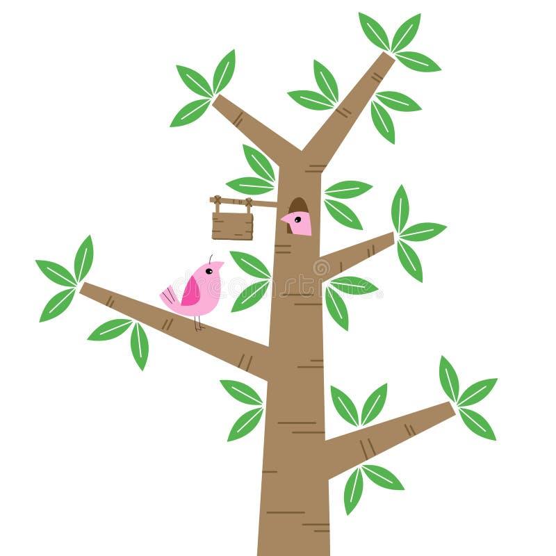 Πουλιά και δέντρα διανυσματική απεικόνιση