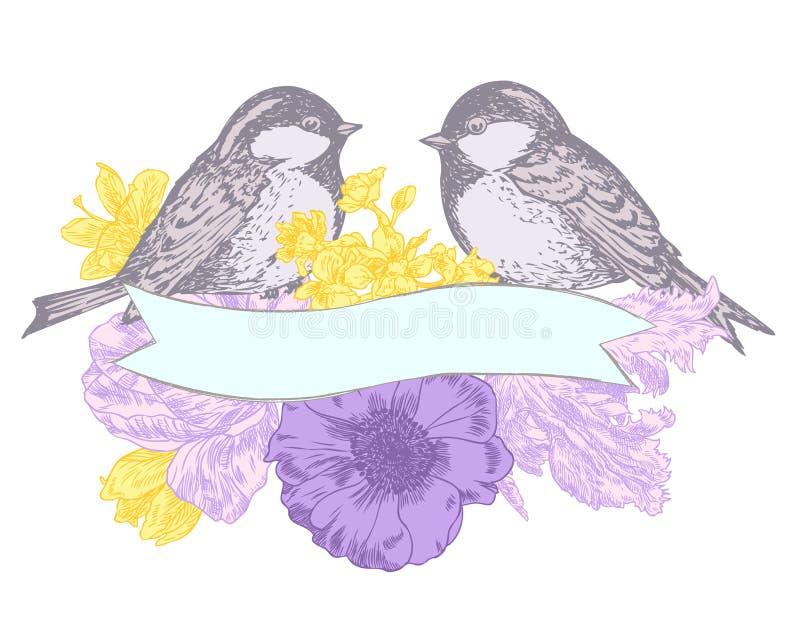 Πουλιά και λουλούδια με το έμβλημα ελεύθερη απεικόνιση δικαιώματος