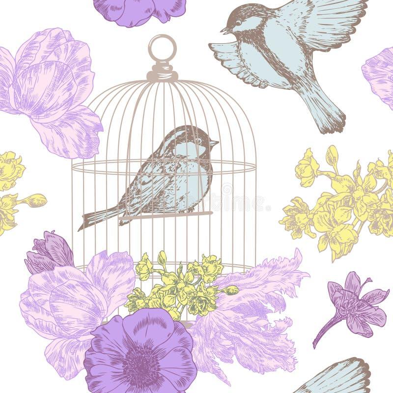 Πουλιά, λουλούδια και άνευ ραφής σχέδιο κλουβιών απεικόνιση αποθεμάτων