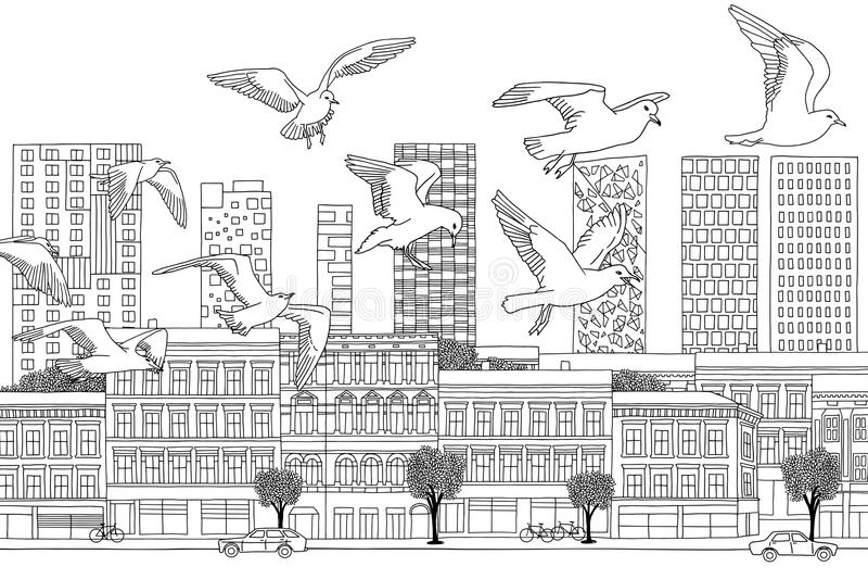Πουλιά πέρα από το Όσλο απεικόνιση αποθεμάτων