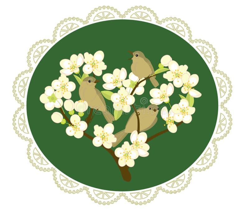 Πουλιά στους ανθίζοντας κλάδους διανυσματική απεικόνιση