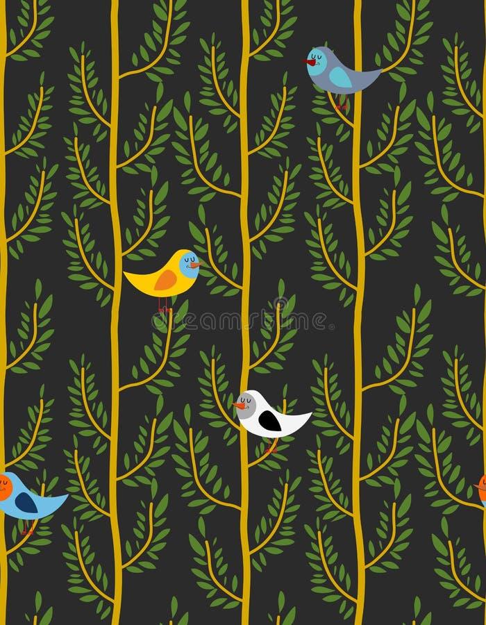 Πουλιά στο άνευ ραφής σχέδιο δέντρων Διανυσματικό υπόβαθρο των δασικών WI απεικόνιση αποθεμάτων