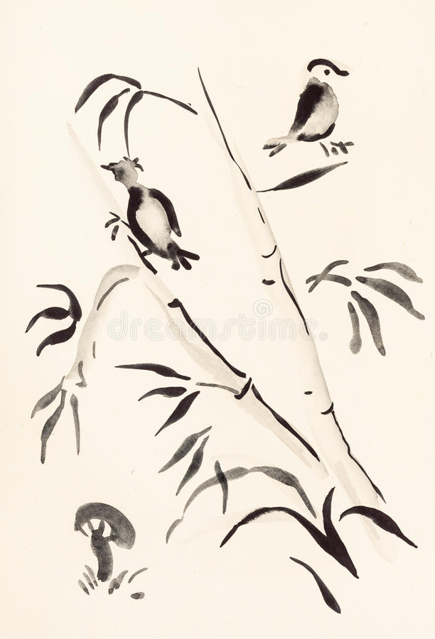 Πουλιά στο μπαμπού και μανιτάρι στο ελεφαντόδοντο ελεύθερη απεικόνιση δικαιώματος