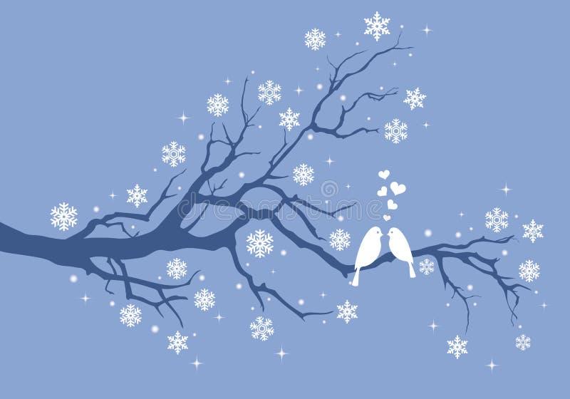 Πουλιά Χριστουγέννων στο χειμερινό δέντρο, διάνυσμα απεικόνιση αποθεμάτων