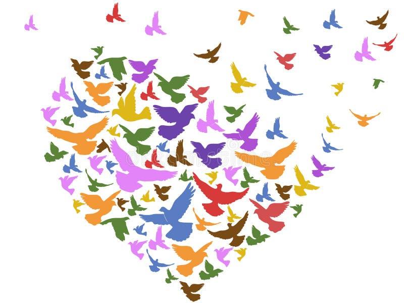 Πουλιά χρώματος που πετούν με την καρδιά απεικόνιση αποθεμάτων